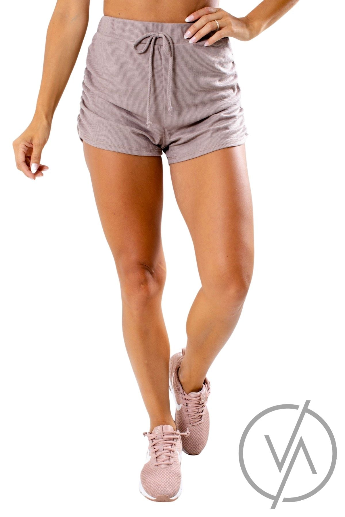 Mocha Ruched Detailed Athletic Shorts for Women