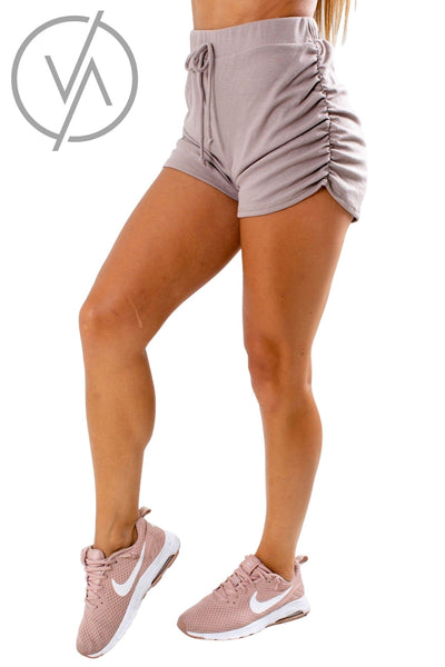 Women's Mocha Elastic Waistband Athletic Shorts