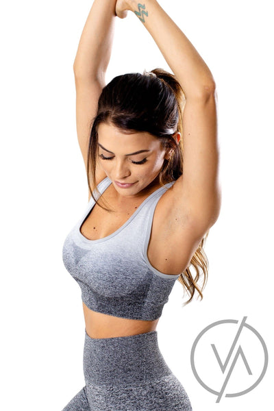 Gray High Impact Activity Athletic Sports Bras for Women