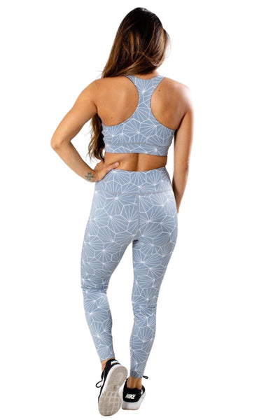 Women's Blue Mesh Lined Athletic Sports Bra