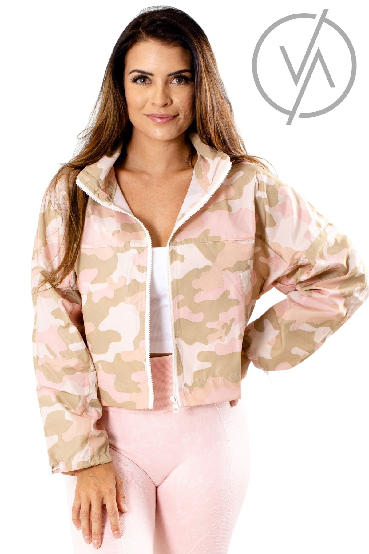 Pink Camo Printed Athletic Windbreakers for Women