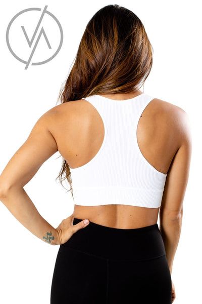 Women's White Ribbed Material Athletic Sports Bra