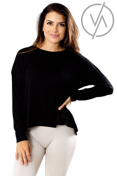 Black Long Sleeve Athletic Tops for Women