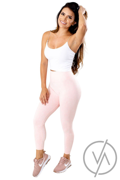 Women's Pink Ribbed Detailed Athletic Legging