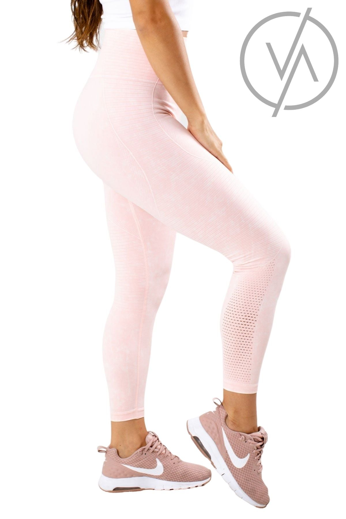 Mineral Wash Pink Athletic Leggings for Women