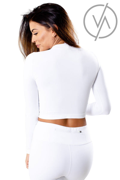 Women's White Long Sleeve Athletic Tops