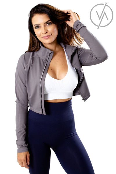 Gray Collar Athletic Jackets for Women
