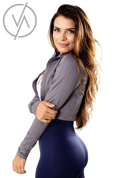 Gray Thick High-Quality Material Athletic Jackets for Women