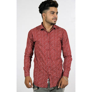 Ditsy Print Slim Shirt with Spread Collar (RED)