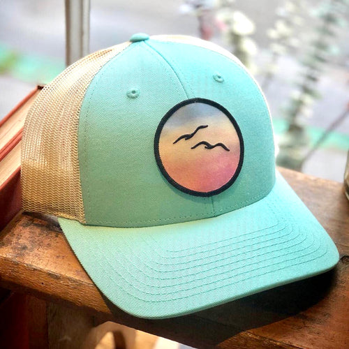 Curved-Brim Trucker (Seafoam/Sand) with Birds Patch