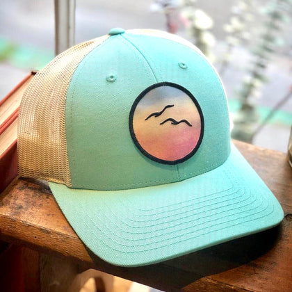 Curved-Brim Trucker (Seafoam/Cream) with Birds Patch
