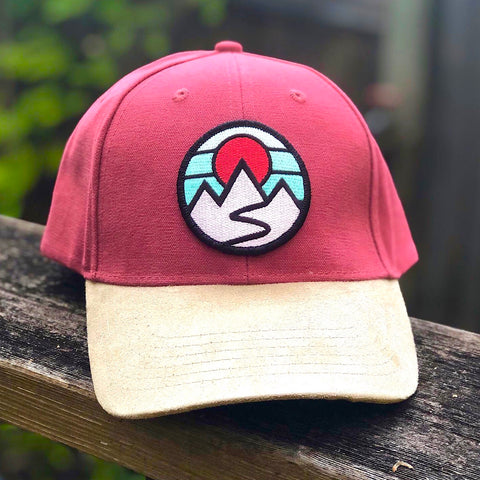 Suede Brim Hiker (Red) with Mountains Patch