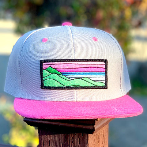 Flat-Brim Snapback (Grey/Pink) with XL Ridgecrest Patch