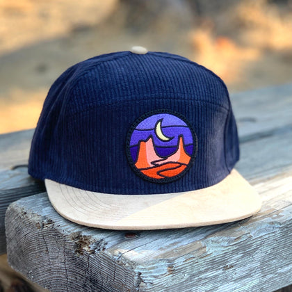 Corduroy Camper (Navy/Tan) with Desert Patch