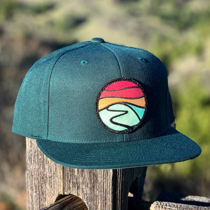 Flat-Brim Snapback (Forest) with Hilltop Patch