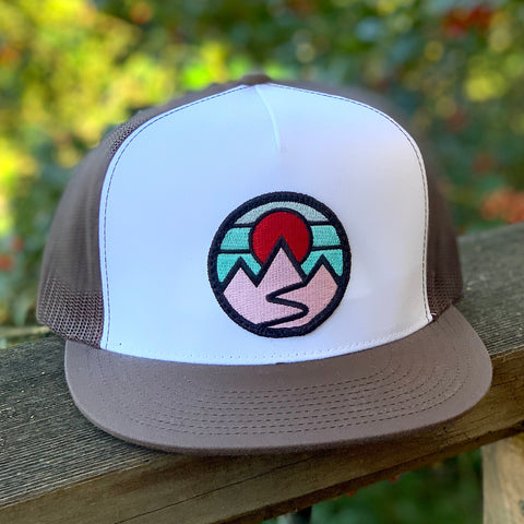 Flat-Brim Trucker (White/Brown) with Mountains Patch