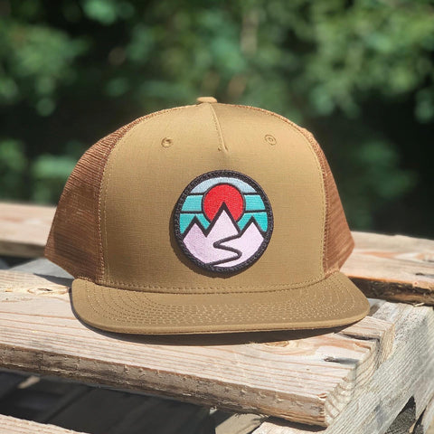Flat-Brim Trucker (Caramel) with Mountains Patch