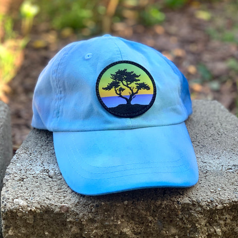 Ice Dye Hat by Space Dirt Dyes (Light Blue) with Cypress patch