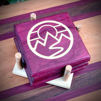 Mountains Coaster Set with Stand by Maxwell's Wooden Hammer