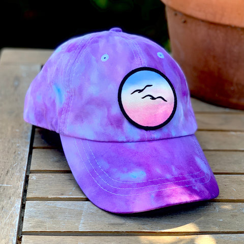 Ice Dye Hat by Space Dirt Dyes (Lavender Splash) with Birds patch