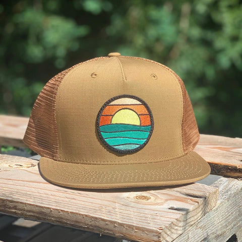 Flat-Brim Trucker (Caramel) with Serenity Patch