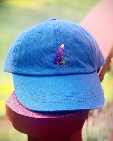 Lupine - Hand-Embroidered Hat by Kelsey Ruggaard