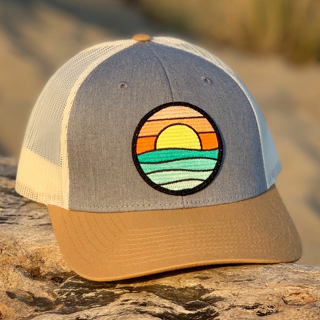 Curved-Brim Trucker (Birch/Grey/Sand) with Serenity Patch