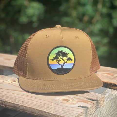 Flat-Brim Trucker (Caramel) with Cypress Patch