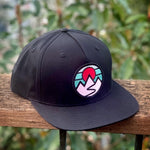 Flat-Brim Snapback (Black) with Mountains Patch