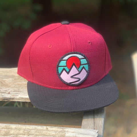 Kids' Snapback (Maroon/Black) with Mountains Patch