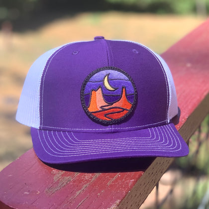 Curved-Brim Trucker (Purple/White) with Desert Patch