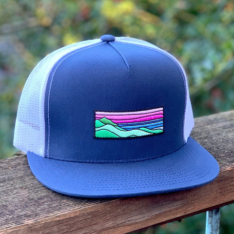 Flat-Brim Trucker (Navy/White) with Ridgecrest Patch
