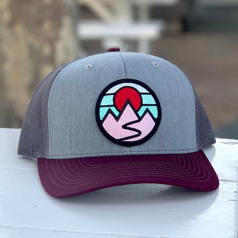 Curved-Brim Trucker (Maroon/Grey/Charcoal) with Mountains Patch