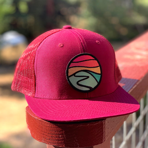Curved-Brim Trucker (Maroon) with Hilltop Patch