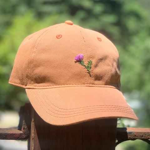 Thistle - Hand-Embroidered Hat by Kelsey Ruggaard