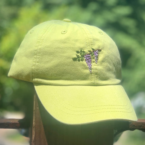Wisteria - Hand-Embroidered Hat by Kelsey Ruggaard