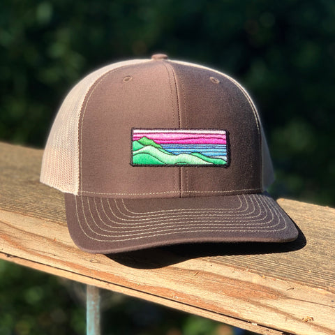 Curved-Brim Trucker (Brown/Tan) with Ridgecrest Patch