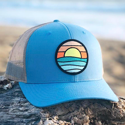 Curved-Brim Trucker (Ocean/Sand) with Serenity Patch
