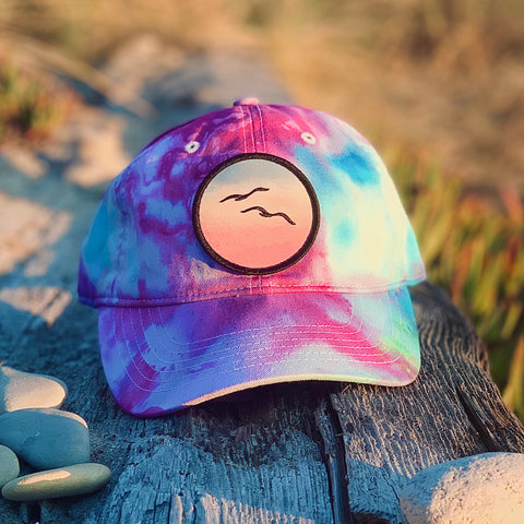 Ice Dye Hat by Space Dirt Dyes (Blue/Pink) with Birds patch