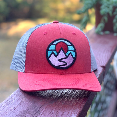 Curved-Brim Trucker (Coral) with Mountains Patch