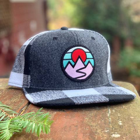 Plaid Snapback with Mountains Patch