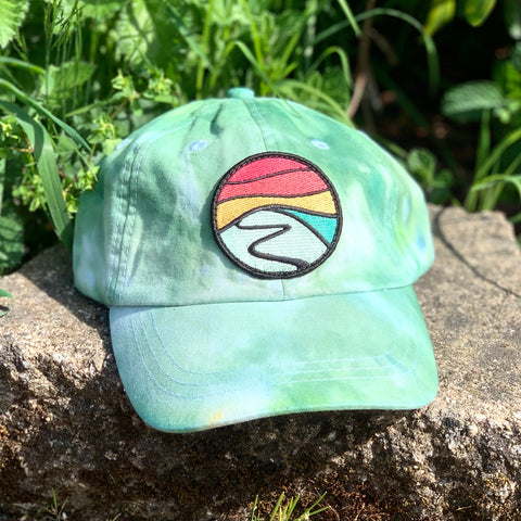Ice Dye Hat by Space Dirt Dyes (Green Splash) with Hilltop patch