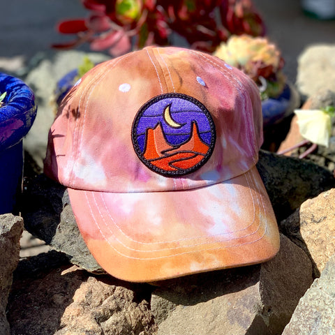 Ice Dye Hat by Space Dirt Dyes (Red Rocks) with Desert patch