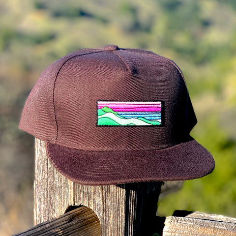 Flat-Brim Snapback (Brown) with Ridgecrest Patch