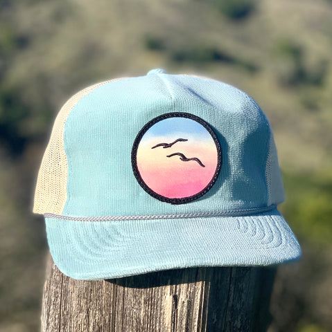 Corduroy Trucker (Sky) with Birds Patch