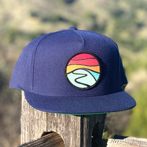 Flat-Brim Snapback (Navy) with Hilltop Patch