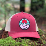 Curved-Brim Trucker (Maroon/Gold) with Mountains Patch