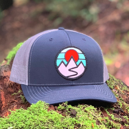 Curved-Brim Trucker (Navy/Grey) with Mountains Patch