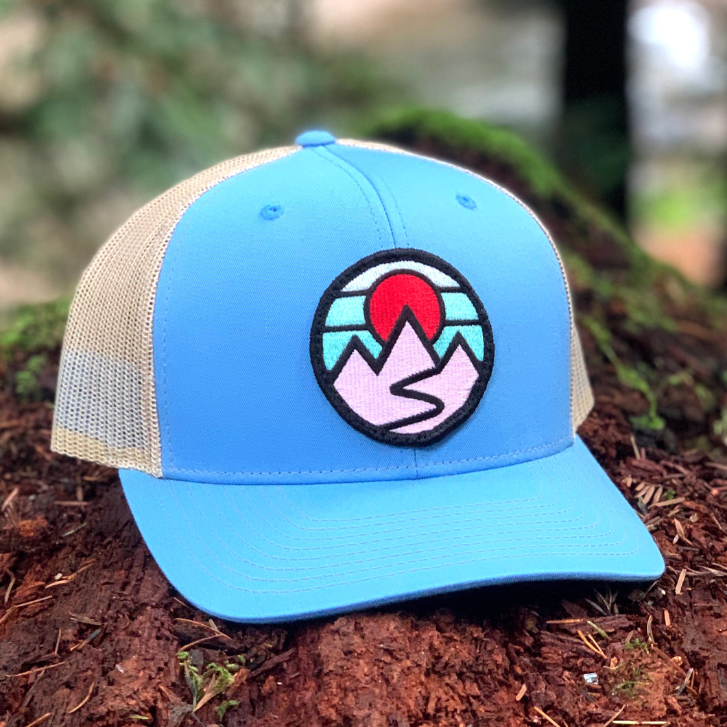 Curved-Brim Trucker (Columbia Blue/Sand) with Mountains Patch
