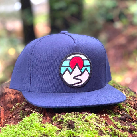 Flat-Brim Snapback (Navy) with Mountains Patch